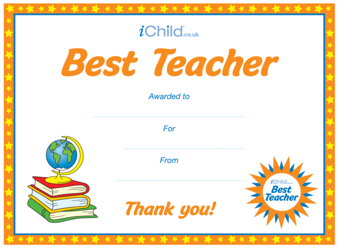 Thumbnail image for the Best Teacher Certificate activity.