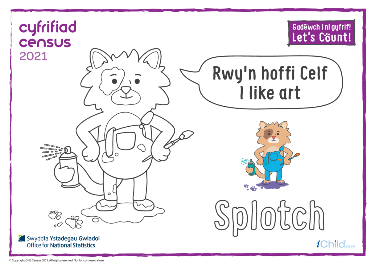 Colour in Counter Cat Splotch (Welsh/English)