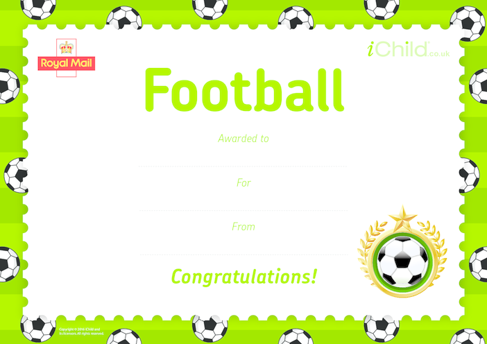 Thumbnail image for the Royal Mail iStamp Club Football Certificate activity.