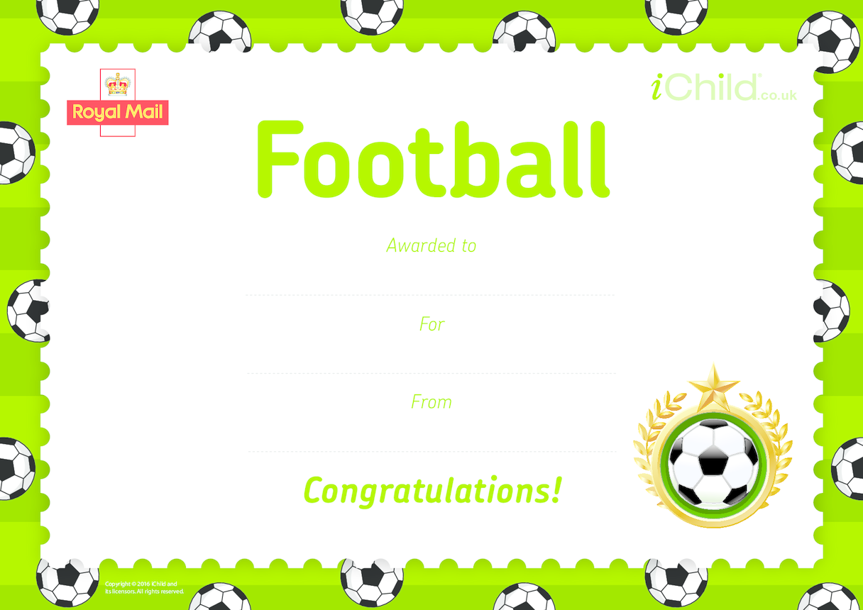 Royal Mail iStamp Club Football Certificate