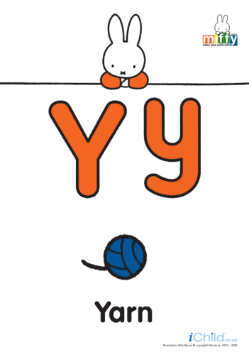 Thumbnail image for the Y: Miffy's Letter Yy (less ink) activity.