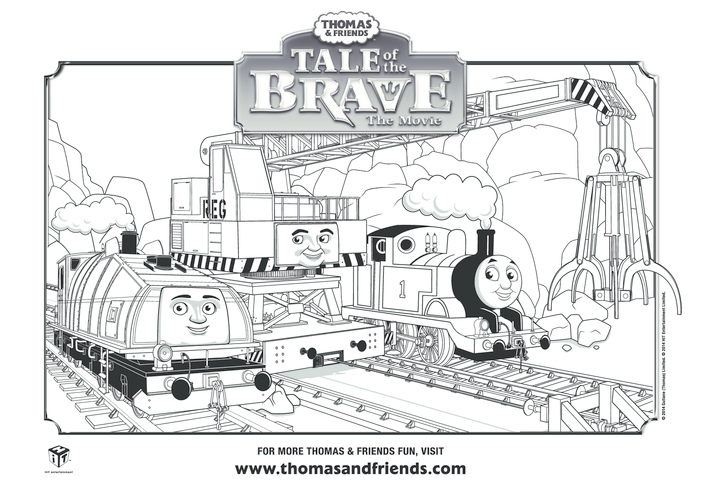 Thumbnail image for the Tale of the Brave, Thomas, Gator, Cranky Colouring in Picture (Thomas & Friends) activity.