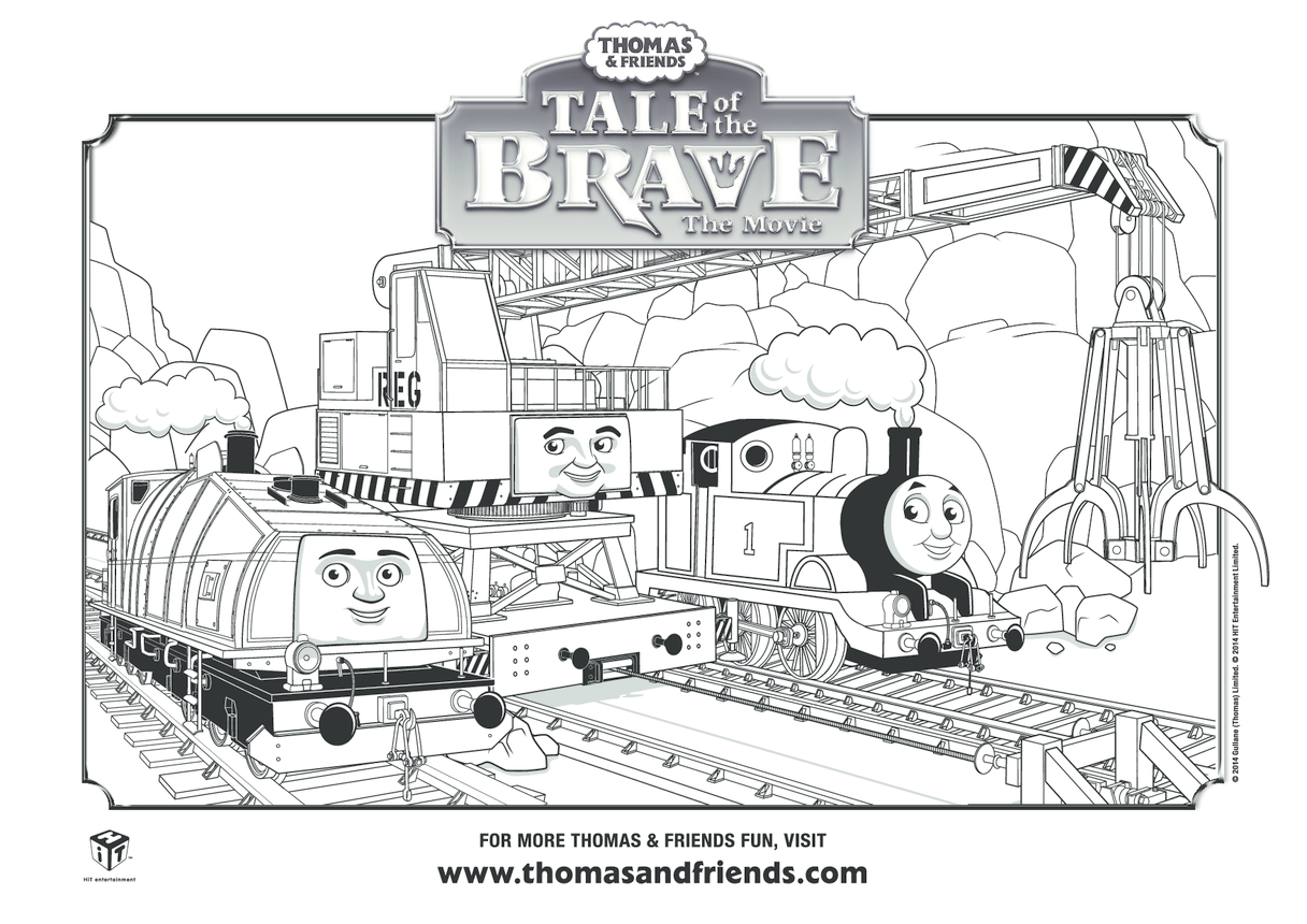 Tale of the Brave, Thomas, Gator, Cranky Colouring in Picture (Thomas & Friends)