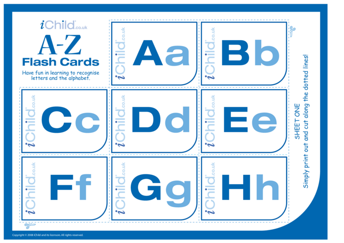 Thumbnail image for the A-Z Alphabet Flash Cards (Without Pictures) activity.