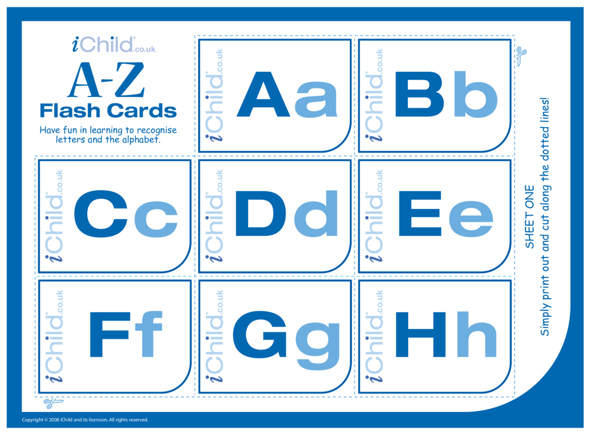 A-Z Alphabet Flash Cards (Without Pictures)