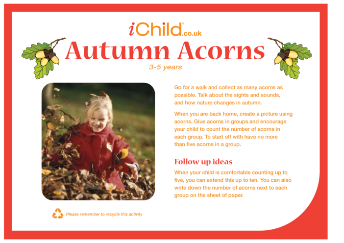 Thumbnail image for the Autumn Acorns activity.