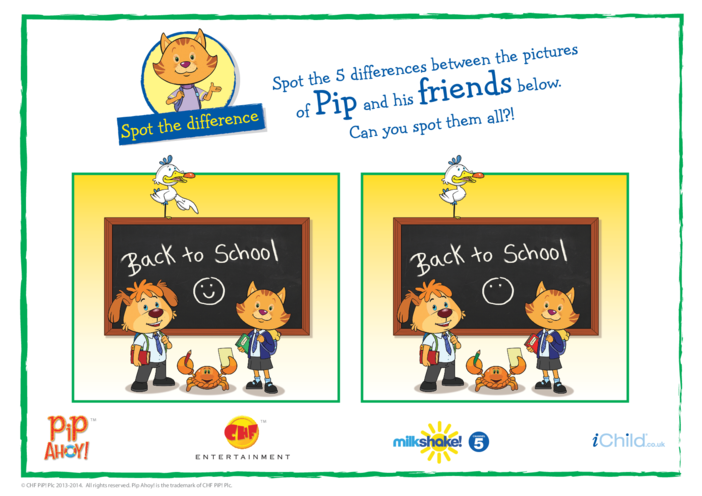 Thumbnail image for the Back to School Spot the Difference (Pip Ahoy!) activity.