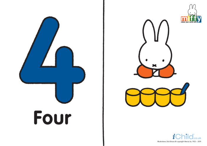 Thumbnail image for the Number 4 with Miffy (less ink) activity.