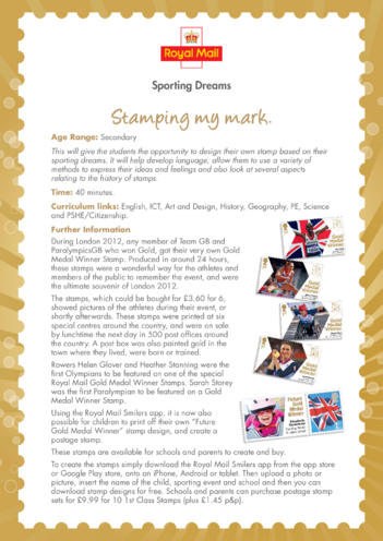 Thumbnail image for the Secondary 3) Stamping My Mark Lesson Plan activity.