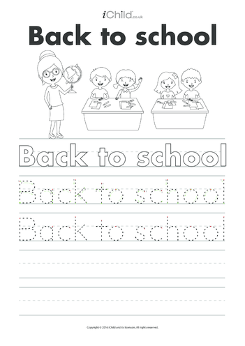 Thumbnail image for the Back to School Handwriting Practice Sheet activity.