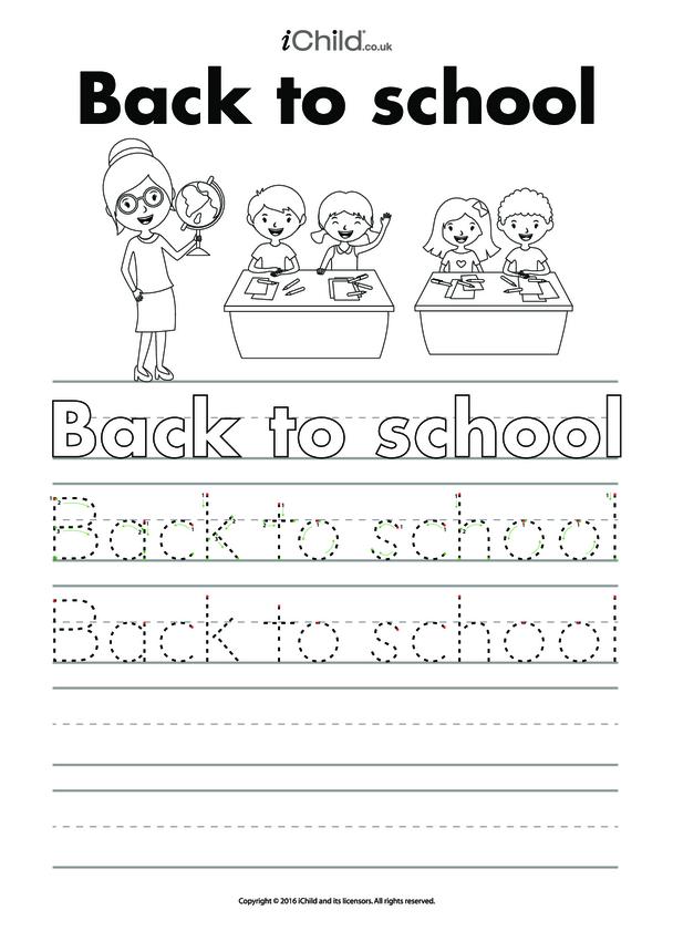 Back to School Handwriting Practice Sheet
