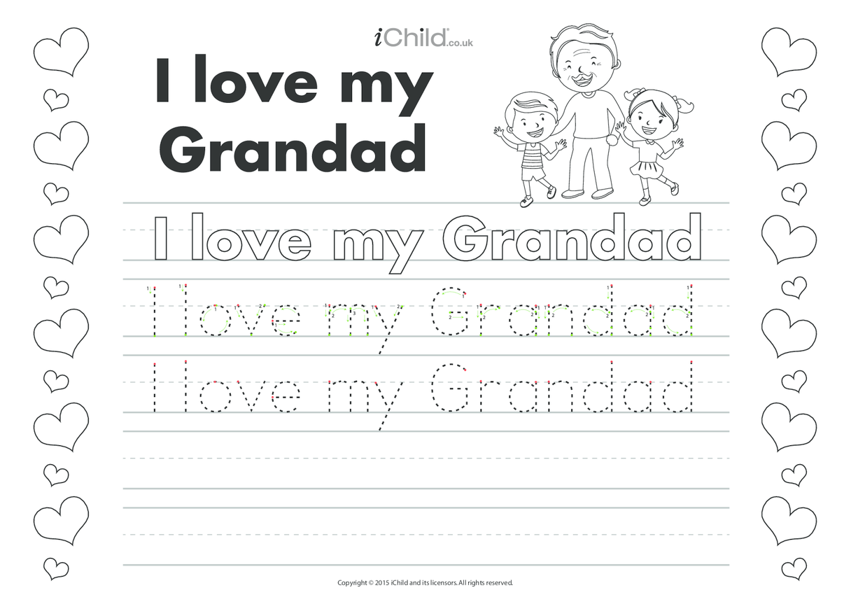 I love my Grandad Handwriting Practice Sheet