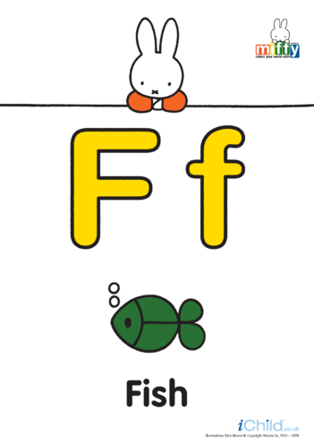 Thumbnail image for the F: Miffy's Letter Ff (less ink) activity.