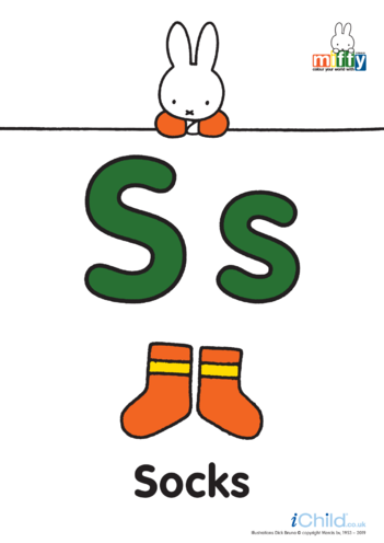 Thumbnail image for the S: Miffy's Letter Ss (less ink) activity.