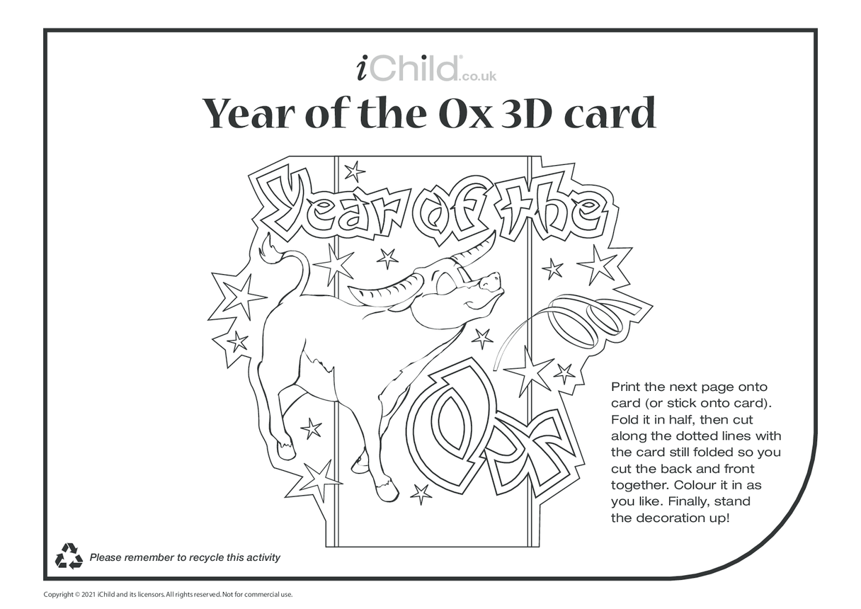 Chinese New Year of the Ox 3D Card