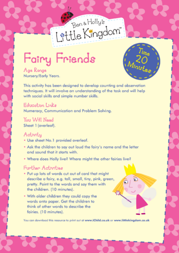 Thumbnail image for the EYFS Resource Sheet 1: Fairy Friends activity.