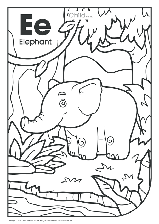 E is for Elephant Colouring in Picture