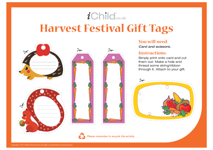 Thumbnail image for the Harvest Festival Gift Tags activity.