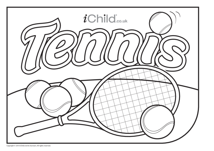 Thumbnail image for the Tennis Colouring in picture activity.