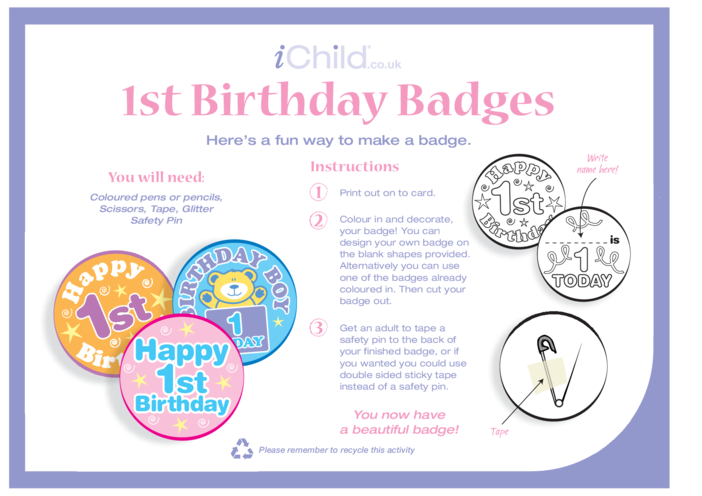 Thumbnail image for the Birthday Badges designs template for 1 year old 1st birthday activity.