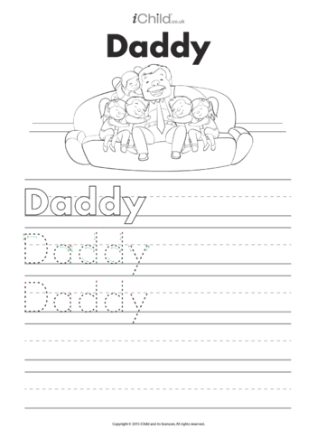 Thumbnail image for the Daddy Handwriting Practice Sheet activity.