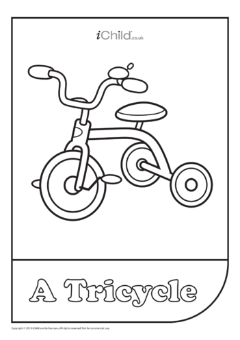 Thumbnail image for the Tricycle Colouring in Picture activity.