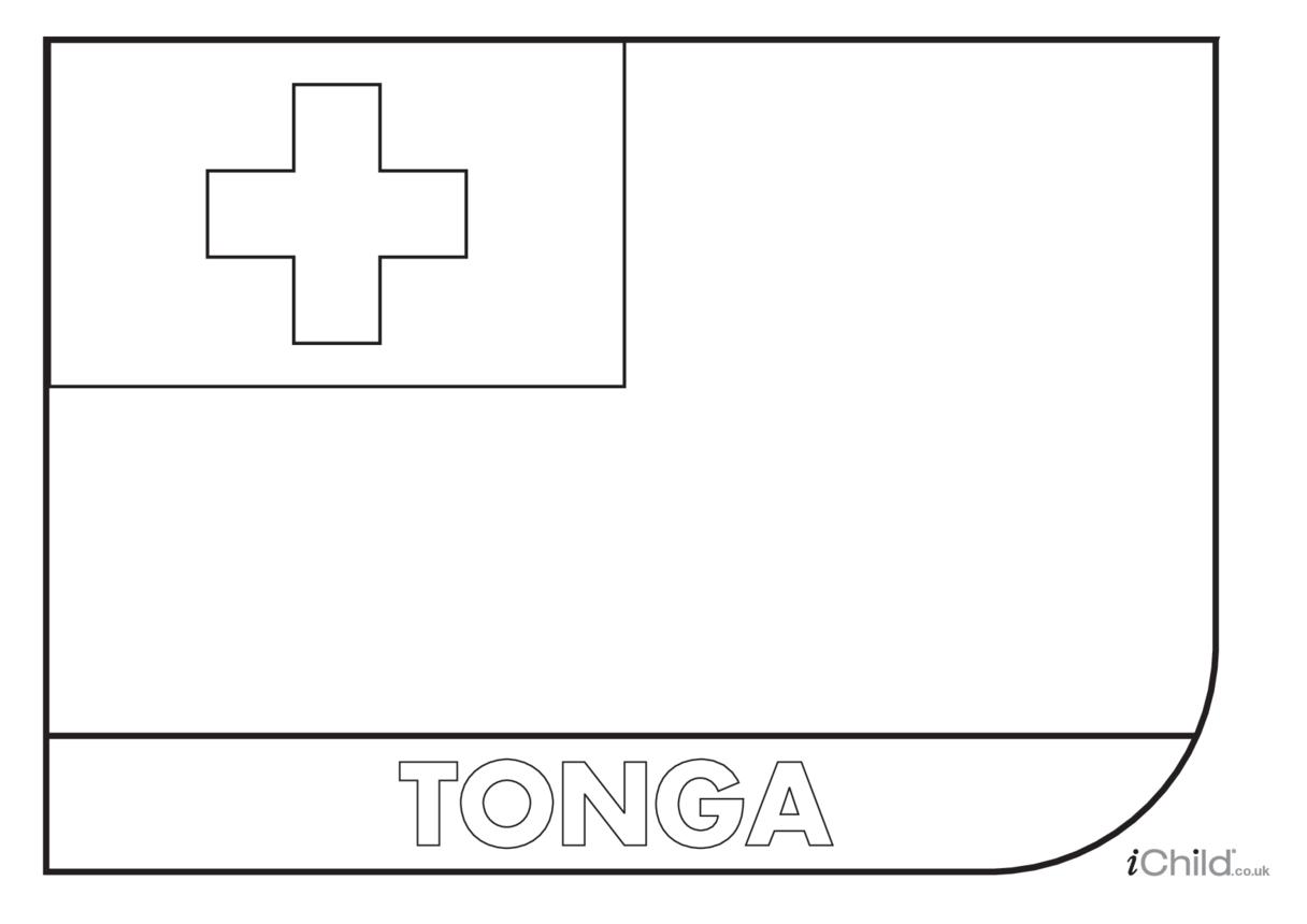 Tonga Flag Colouring in Picture (flag of Tonga)