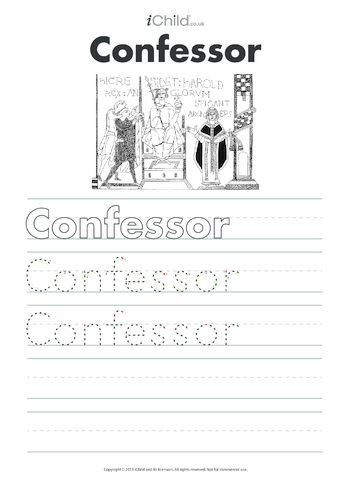Thumbnail image for the Edward the Confessor Handwriting Practice Sheet activity.