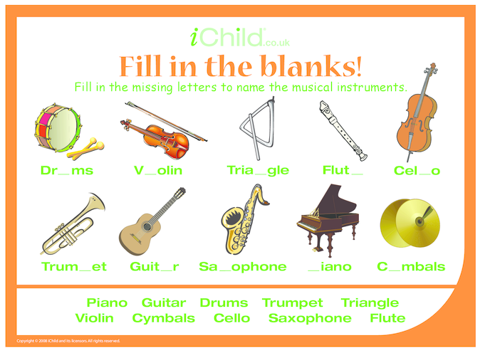 Thumbnail image for the Fill in the Blanks - Musical Instruments activity.