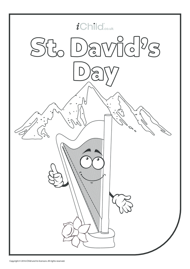 St. David's Day Colouring in Picture - Happy Harp