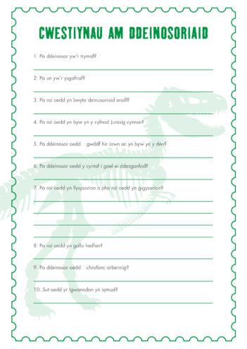 Thumbnail image for the Welsh Language Primary 1) The Real Giants- Dinosaur Questions activity.