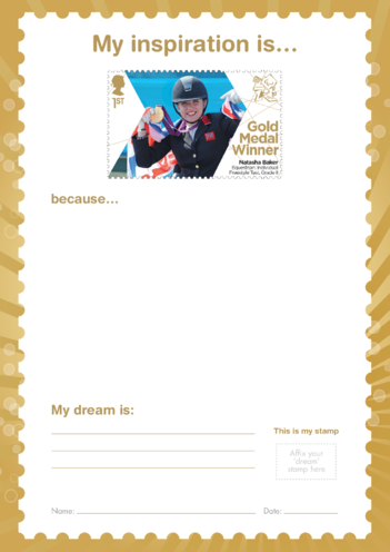 Thumbnail image for the My Inspiration Is- Natasha Baker- Gold Medal Winner Stamp Template activity.
