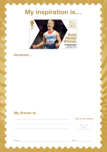 Thumbnail image for the My Inspiration Is- Jonnie Peacock- Gold Medal Winner Stamp Template activity.