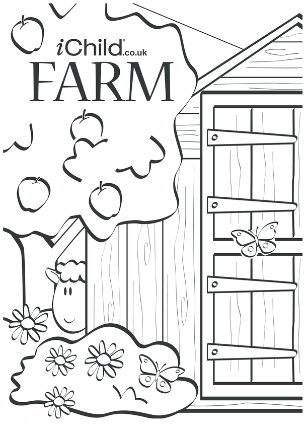 Farm Colouring Poster and Puppet Scenery