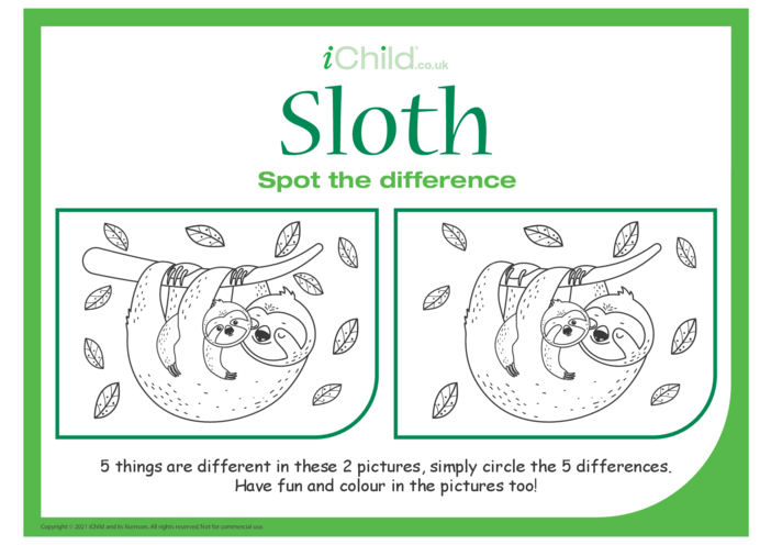 Thumbnail image for the Sloth Spot the Difference activity.