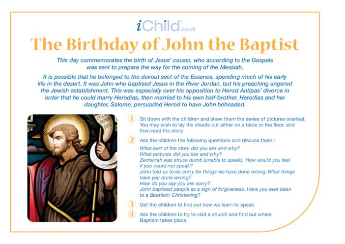Thumbnail image for the St. John the Baptist Religious Festival Story activity.