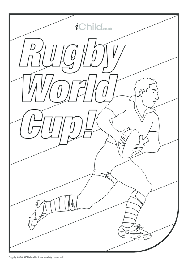 Rugby Player Colouring in Picture