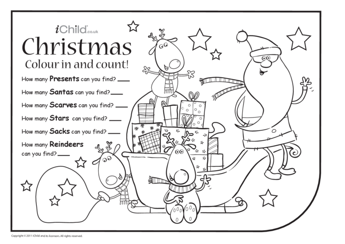 Thumbnail image for the Colour in & Count - Christmas activity.