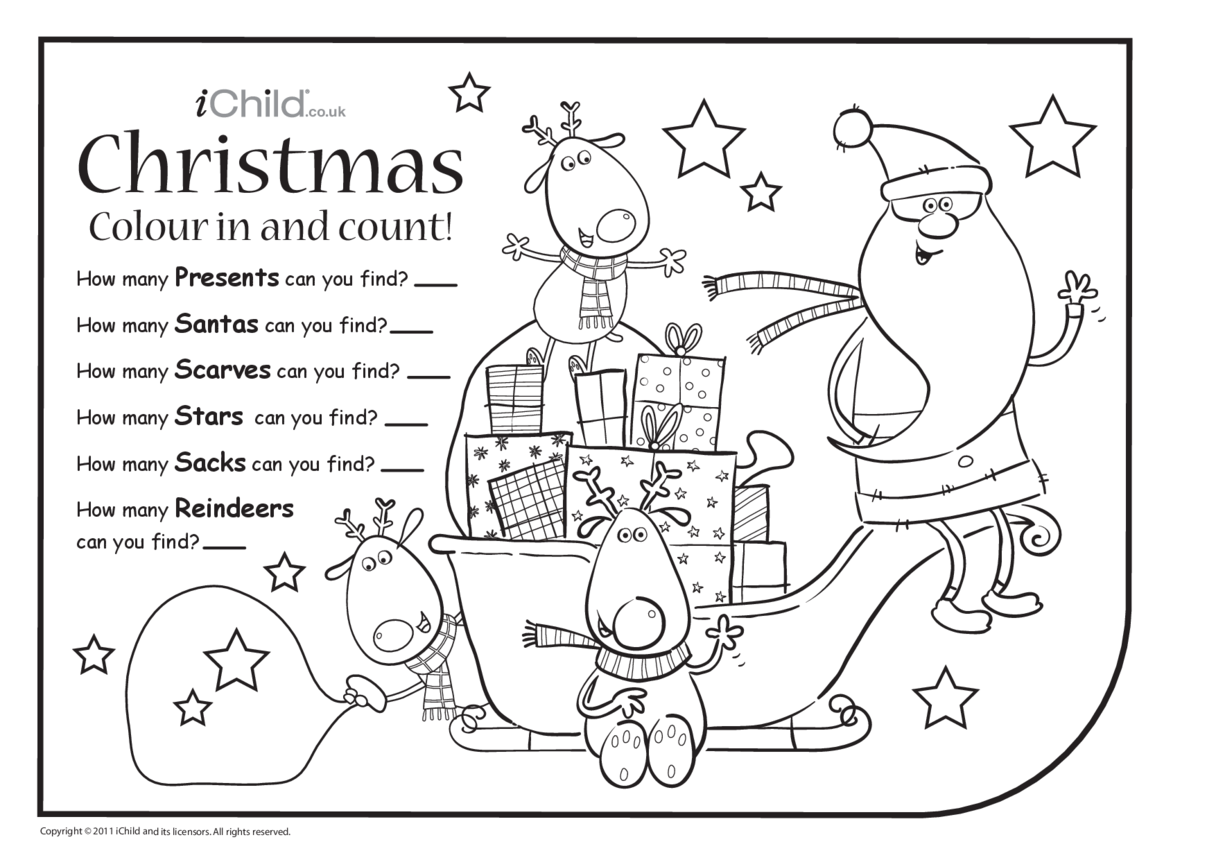 Colour in & Count - Christmas