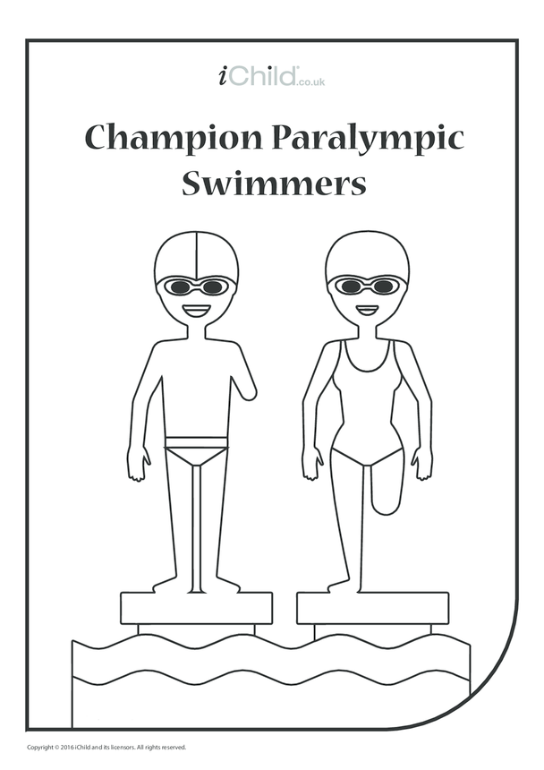 Paralympic Swimmers Colouring in Picture