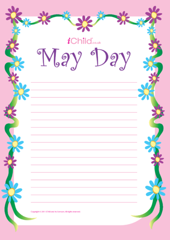Thumbnail image for the May Day Lined Writing Paper Template activity.