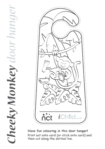 Thumbnail image for the Cheeky Monkey Door Hanger activity.