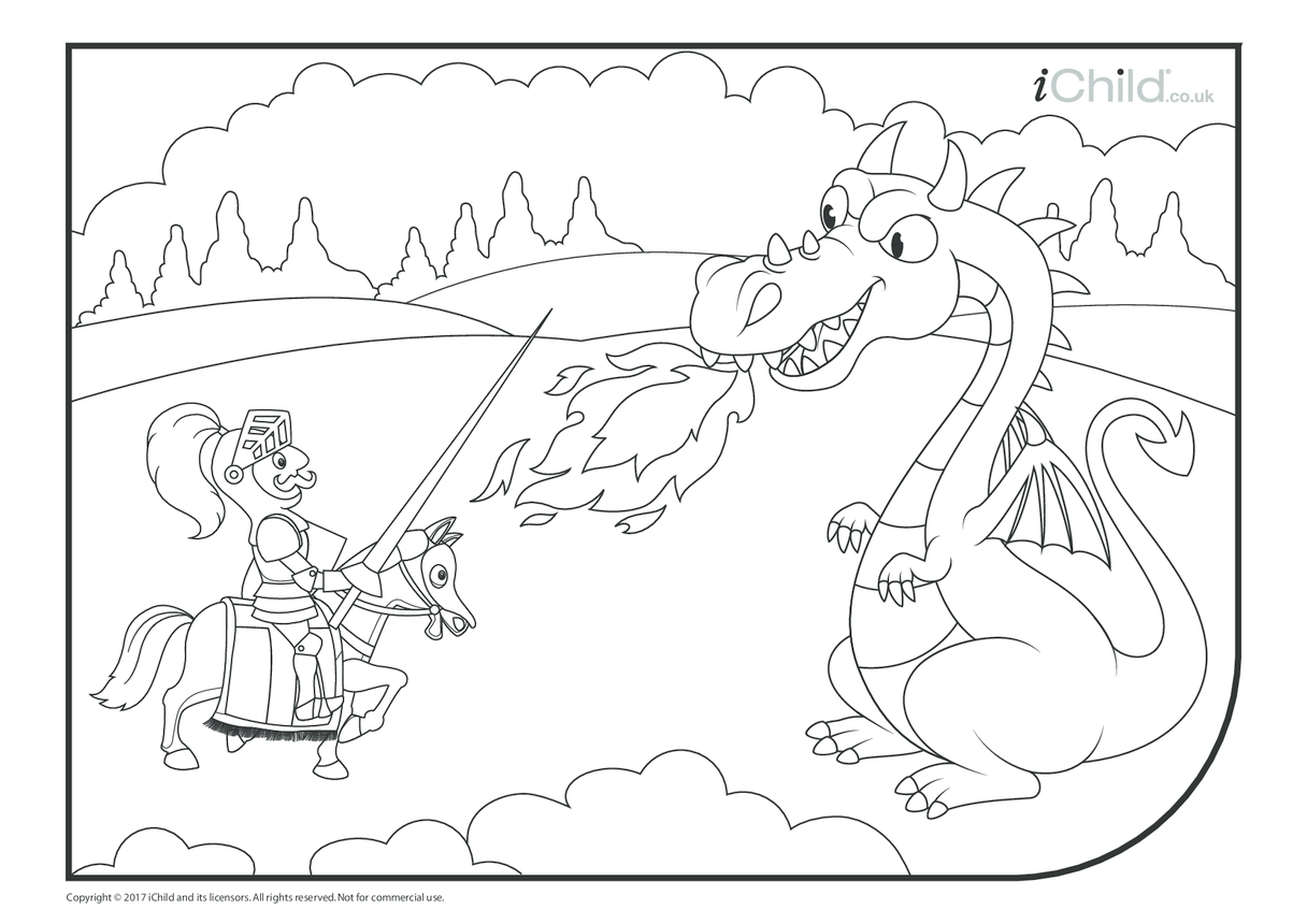 St. George & the Dragon Colouring in Picture