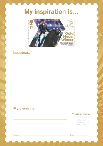 Thumbnail image for the My Inspiration Is- Charlotte Dujardin- Gold Medal Winner Stamp Template activity.