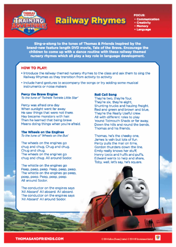 Thumbnail image for the Activity: Railway Rhymes (Thomas & Friends) activity.