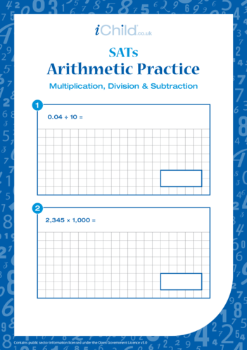 Thumbnail image for the Arithmetic Practice: Multiplication, Division & Subtraction activity.