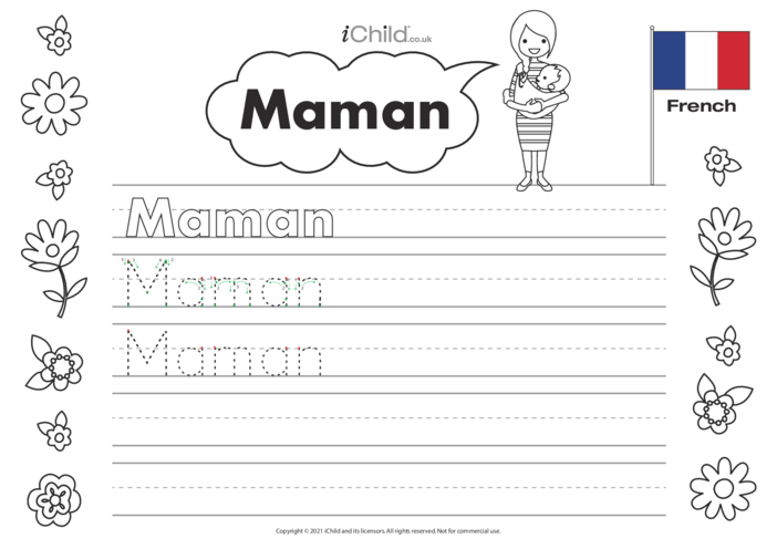 Thumbnail image for the Mummy in French Handwriting Practice Sheet activity.