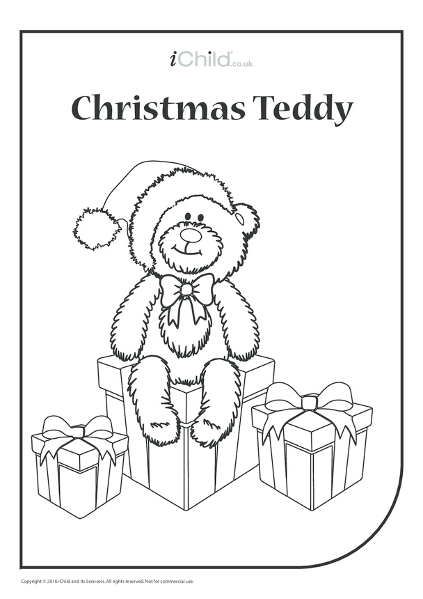 Christmas Teddy Colouring in Picture