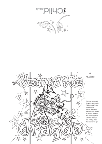 Thumbnail image for the Chinese New Year Dragon Craft Greetings Card activity.