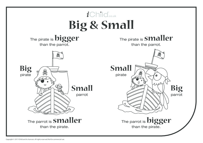 Thumbnail image for the Big & Small - Pirate & Parrot activity.